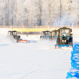 Snowplows restores ice cover Royalty Free Stock Images