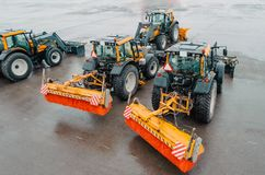 Snowplows Tractors on the airfield at the airport. Snowblower. Stock Photography