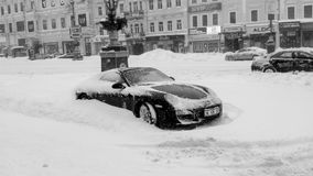Spring snow apocalypse. Kiev, Ukraine. Assignment files. The car has trapped in snow stock images