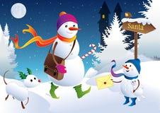 Snowpostman - lettera al Babbo Natale Immagine Stock