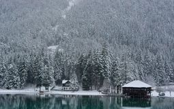 It snows on the beautiful Brunico lake in the forests. The wonderful world of winter forests stock images