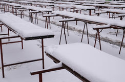 The snows covered stalls on the empty Zagreb market. Croatia Stock Photography