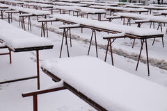 The snows covered stalls on the empty Zagreb market. Croatia Stock Images