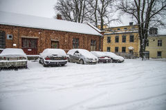 It snows in halden city Stock Image