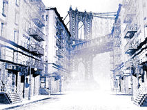 Snows in New York. View of a Brooklyn street, looking at the Manhattan bridge, at the beginning of the twentieth century.  The snow is falling on the empty Stock Photography