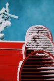 Snows on Red Roof Closeup Photo Stock Photography