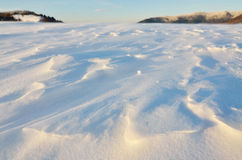 Snowscape关闭在山 免版税库存图片