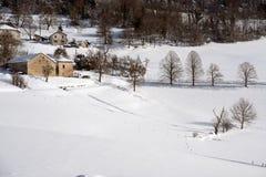 Snowscape κοντά στη Γκρενόμπλ Γαλλία Στοκ Εικόνες