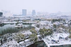 Snowscape del parque de Qingcheng en Hohhot, Inner Mongolia, China foto de archivo
