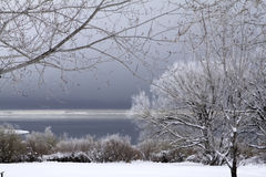 Snowscape with lake and stormy sky Royalty Free Stock Photo
