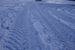 Snowscape met steunbalktekens in de sneeuw Stock Fotografie