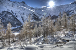 Snowscape near Saas-Fee Stock Photography