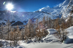 Snowscape near Saas-Fee Royalty Free Stock Photo