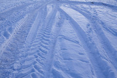 Snowscape with skid marks into the snow Stock Photography