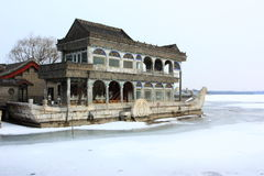 Snowscape of stone boat in Summer Palace Royalty Free Stock Photography
