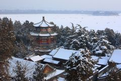 The snowscape of Summer Palace Stock Images