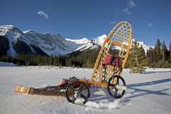 Snowshoe gear in the snow Stock Photos