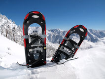 Snowshoe Mountain. Snowshoes in a deep drift on a California mountain peak Stock Images