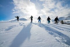 Free Snowshoe Race On The Continental Divide Canadian Rockies  Stock Photos - 207890643