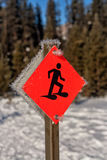 Snowshoe Sign in Winter Stock Photos