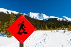 Snowshoe Trails. Through the mountains, Alberta Canada Stock Photos