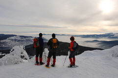 Snowshoe walking. Vosges Mountains, Alsace, France Royalty Free Stock Photo