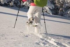 snowshoeing在冻雪的女孩在一个冷的晴天 免版税库存图片