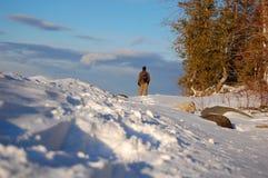 snowshoeing的冒险 图库摄影