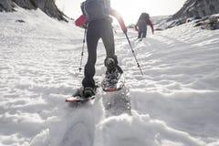 snowshoeing的妇女背面图  免版税库存图片