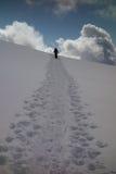 Snowshoeing aufwärts Stockbild