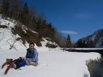 Snowshoeing Berg Stockbilder