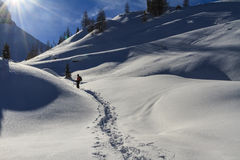 Snowshoeing, dolomites Photo stock