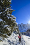Snowshoeing, Dolomites Royalty Free Stock Photos