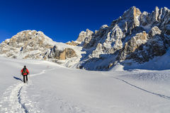 Snowshoeing, Dolomites Royalty Free Stock Photography