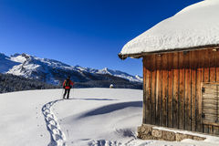 Snowshoeing, Dolomites Royalty Free Stock Images