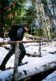 Snowshoeing en Quebec Foto de archivo libre de regalías
