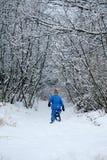 Snowshoeing en un camino Fotografía de archivo