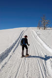 Snowshoeing Frau Stockfoto