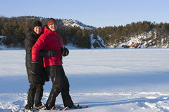 Snowshoeing in Killarney Provincial Park, Ontario Royalty Free Stock Photo