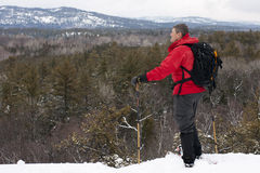 Snowshoeing in Killarney Provincial Park, Ontario Royalty Free Stock Images