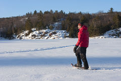 Snowshoeing in Killarney Provincial Park, Ontario. An active man on snowshoes takes to the ice of George Lake in Killarney Provincial Park. The LaCloche Royalty Free Stock Photos