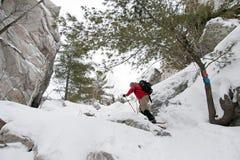 Snowshoeing na sylwetka śladzie, Killarney prowincjonału park Obraz Royalty Free