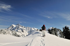 Snowshoeing nel panettiere di Mt Fotografia Stock Libera da Diritti