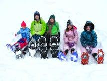 Snowshoeing nell'inverno Fotografia Stock