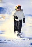 Snowshoeing no inverno Fotografia de Stock Royalty Free