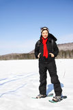 Snowshoeing in Quebec. Woman winter hiking with snowshoes on frozen lake in Quebec, Canada Stock Photos