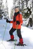 Snowshoeing retirement stock photography