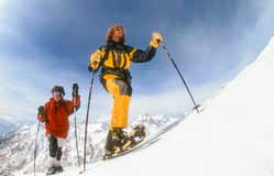 Snowshoeing in Serre Chevalier. Snowshoers exploring the backcountry of Serre Chevalier in the French Alps. 15. March 1998. Serre Chevalier is popular with Stock Photography