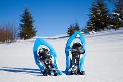 snowshoeing Sneeuwschoenen in de sneeuw Stock Foto