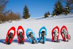 snowshoeing Sneeuwschoenen in de sneeuw Stock Afbeelding